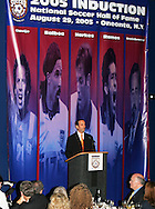 28 August 2005: Don Garber, Commissioner of Major League Soccer (MLS), talks to the attendees before dinner. The Hall of Fame President's Dinner took place at the United States Soccer Hall of Fame in Oneonta, New York the night before the 2005 induction ceremony.