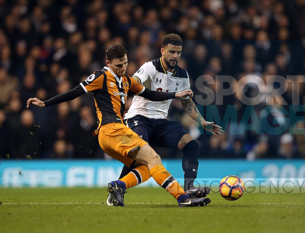 Tottenham's Kyle Walker tussles with Hull's Andrew Robertson during the Premier League match at White Hart Lane Stadium, London. Picture date December 14th, 2016 Pic David Klein/Sportimage