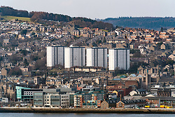 View over city of Dundee in Tayside, Scotland, United Kingdom