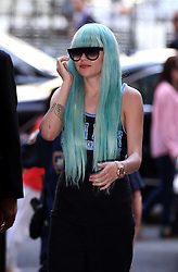 July 9, 2013 - New York, New York, U.S. - Actress AMANDA BYNES arrives to Manhattan Criminal court wearing turquoise wig and sloppy workout gear to face judge in marijuana bong-throwing case. (Credit Image: © Zelig Shaul/Ace Pictures/ZUMAPRESS.com)