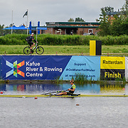 Emma Twigg , New Zealand elite Womens Single Scull (with Mike Rodger (coach) on the bike)<br /> <br /> Compete in the A Finals at FISA World Rowing Cup III on Sunday 14 July 2019 at the Willem Alexander Baan,  Zevenhuizen, Rotterdam, Netherlands. © Copyright photo Steve McArthur / www.photosport.nz