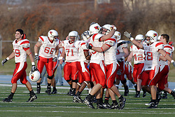 25 November 2006: Redbirds celebrate a victorious 1st round game. The Redbirds romped the Panthers by a score of 24-13.&#xD;This game was a 1st round NCAA Division 1 Playoff held at O'Brien Stadium on the campus of Eastern Illinois University in Charleston Illinois.<br />