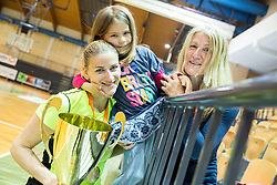 Maja Erkic of Athlete Celje celebrates with her daughter and mother after winning during basketball match between ZKK Athlete Celje and ZKK Triglav in Finals of 1. SKL for Women 2014/15, on April 20, 2015 in Gimnazija Celje Center, Celje, Slovenia. ZKK Athlete Celje became Slovenian National Champion 2015. Photo by Vid Ponikvar / Sportida