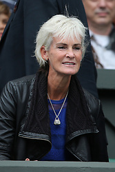 © London News Pictures. Judy Murray arrives at centre court to watch Andrew Murray (GB) play Vasek Pospisil (CAN) in the men's Wimbledon Tennis Championships today. 07.07.2015. Photo credit: LNP