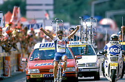 16 July 1993 - Cycling - Tour de France - Isola 2000 / Marseille<br /> Fabio Roscioli celebrates winning the stage <br /> Photo: Presse Sports / Offside