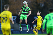 Forest Green Rovers Paul Digby(20) heads the ball clear  during the The FA Cup 1st round match between Oxford United and Forest Green Rovers at the Kassam Stadium, Oxford, England on 10 November 2018.