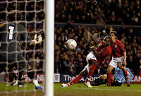 Photo: Jed Wee.<br /> England v Uruguay. International Friendly. 01/03/2006.<br /> <br /> England's Darren Bent fires a shot in on goal.