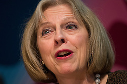 © Licensed to London News Pictures. FILE PICTURE DATED 08/03/2013. London, UK. Home Secretary THERESA MAY speaking at The Victory 2015 Conservative party Conference. Theresa May today (09/06/2014) met with Prime Minister David Cameron to discuss the alleged extremist takeover of schools in Birmingham. ThePhoto credit : Ben Cawthra/LNP