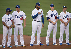 October 24, 2017 - Los Angeles, CA, USA - The Los Angeles Dodgers Kenley Jansen says hello to the fans during player introductions before game one of the World Series against the Houston Astros at Dodger Stadium in Los Angeles, CA on Tuesday, October 24, 2017. (Credit Image: © Kevin Sullivan/Los Angeles Daily News via ZUMA Wire)