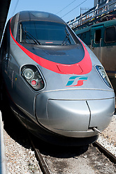 High speed Italian Eurostar train at Venice railway station in Italy