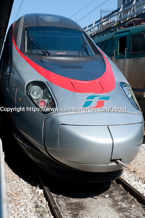 High speed Italian Eurostar train at Venice railway station in Italy