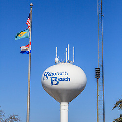 Rehoboth Beach, DE, USA - March 11, 2012: Rehoboth Beach Water Tower with blue sky.