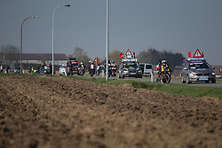 The front of the race convoy starts the Lange Munte, the first cobbled section of the Ronde Van Vlaanderen - a 153.2 km road race, starting and finishing in Oudenaarde on April 2, 2017, in East Flanders, Belgium.