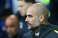 Manchester City Manager Pep Guardiola looks on from the dugout. Premier league match, Everton v Manchester City at Goodison Park in Liverpool, Merseyside on Sunday 15th January 2017.<br /> pic by Chris Stading, Andrew Orchard sports photography.