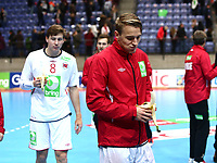 Håndball, Januar Cup , menn<br /> 17.01.2015<br /> Håkons Hall , Lillehammer<br /> Norge v Ungarn  30-27<br /> Foto : Dagfinn Limoseth , Digitalsport<br /> Gøran Johannessen og Stig Tore Moen Nilsen  , Norge