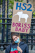 "HS2 Protestors appeared outside the British House of Parliament on Wednesday, July 8, 2020 - in support of the ""Save British Farming"" group who drove their tractors throughout Westminster in central London to protest the agriculture bill that is currently going through parliament. <br /> HS2 protestors arrived in London on the early morning of Wednesday to support the TV presenter Chris Packham who is appealing the High Court decision which refused him permission to bring a claim against the Government's decision to give the green light to HS2. (VXP Photo/ Vudi Xhymshiti)"