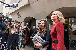 © Licensed to London News Pictures. 07/09/2020. LONDON, UK. Julian Assange's lawyer, Jennifer Robinson (R) and fiancée, Stella Moris (2R), arrive at the Old Bailey as Julian Assange's extradition hearing, which is expected to last for the next three or four weeks, resumes after it was postponed due to the coronavirus pandemic lockdown.  Julian Assange is wanted in the US for allegedly conspiring with army intelligence analyst Chelsea Manning to expose military secrets in 2010.  Photo credit: Stephen Chung/LNP