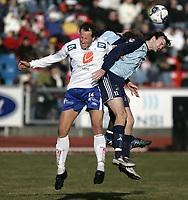 Fotball<br /> 09.04.2006<br /> Adeccoligaen 2006<br /> Haugesund v Follo <br /> <br /> Ivar A. Sandvik - Haugesund<br /> Johan Nås - Follo<br /> <br /> Foto: Jan Kåre Ness , Digitalsport