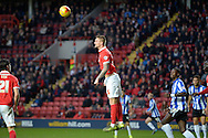 Patrick Bauer of Charlton Athletic heads the ball .Skybet football league championship match, Charlton Athletic v Sheffield Wednesday at The Valley  in London on Saturday 7th November 2015.<br /> pic by John Patrick Fletcher, Andrew Orchard sports photography.
