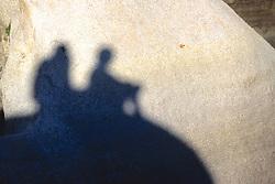 Shadows Of David & Gillian On Rock