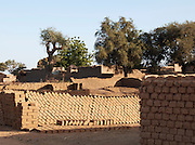 Freshly made bricks dry in the sun in a small, rural village near Djenné, Mali
