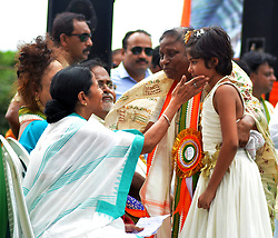 August 28, 2017 - Kolkata, West Bengal, India - Trinamool Congress supremo and West Bengal Chief Minister Mamata Banerjee(left)  participate along with other leaders in the TMCP foundation day rally in Kolkata. Trinamool Congress Chatra Parishad (TMCP) organized a rally on the occasion of TMCP foundation day on August 28, 2017 in Kolkata. (Credit Image: © Saikat Paul/Pacific Press via ZUMA Wire)