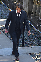 EXCLUSIVE: Who's That Girl? Johnny Depp takes a break during filming chatting to mystery girl in Vancouver, Canada. Johnny was seen filming 'Richard Says Goodbye' in Victoria, Canada. The film surrounds Richard, played by Johnny who receives some devastating news and sets out to live his life to the full. Johnny has been filming his latest project in Canada and has spent time to greet fans and visit the local children's hospital as well. Johnny was seen taking a break from filming and relaxing while chatting on set while in Victoria, Canada. It is unclear wheather the girl was a fan, crew member or a friend of Johnny's. 22 Aug 2017 Pictured: Johnny Depp. Photo credit: MEGA TheMegaAgency.com +1 888 505 6342