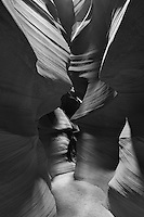 Upper Antelope Canyon, Page Arizona. Image taken with a Nikon D3 camera and 14-24 mm f/2.8 lens (ISO 200, 24 mm, f/16, 15 sec). Image processed with Capture One Pro. Converted to B&W with NIK Silver Efex Pro 2
