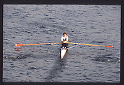London. United Kingdom.  Rhian PRICHARD. 1990 Scullers Head of the River Race. River Thames, viewpoint Chiswick Bridge Saturday 07.04.1990<br /> <br /> [Mandatory Credit; Peter SPURRIER/Intersport Images] 19900407 Scullers Head, London Engl