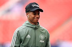 Manchester United's Marcus Rashford checks out the pitch ahead of the Emirates FA Cup semi-final match at Wembley Stadium, London.