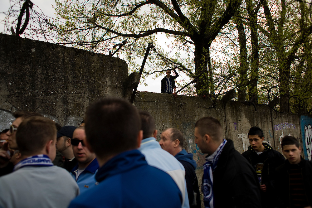 Scenes outside of the FK Zeljeznicar Sarajevo stadium before a match in April, 2010. Known locally as Zeljo the team is one of two popular soccer/football teams in Sarajevo.