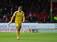 Swindon Town's Goalkeeper Tyrell Belford sent off during the Sky Bet League 1 match between Swindon Town and Leyton Orient at the County Ground, Swindon, England on 3 May 2015. Photo by Mark Davies.