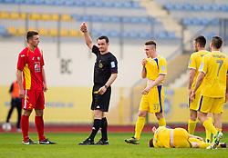 Referee Bojan Mertik  with red card for Christian Bubalovic #2 of Rudar during football match between NK Domzale and NK Rudar Velenje in 25th Round of Prva liga Telekom Slovenije 2012/13 on April 17, 2013 in Sports park Domzale, Slovenia. Domzale defeated Rudar 2-0. (Photo By Vid Ponikvar / Sportida)