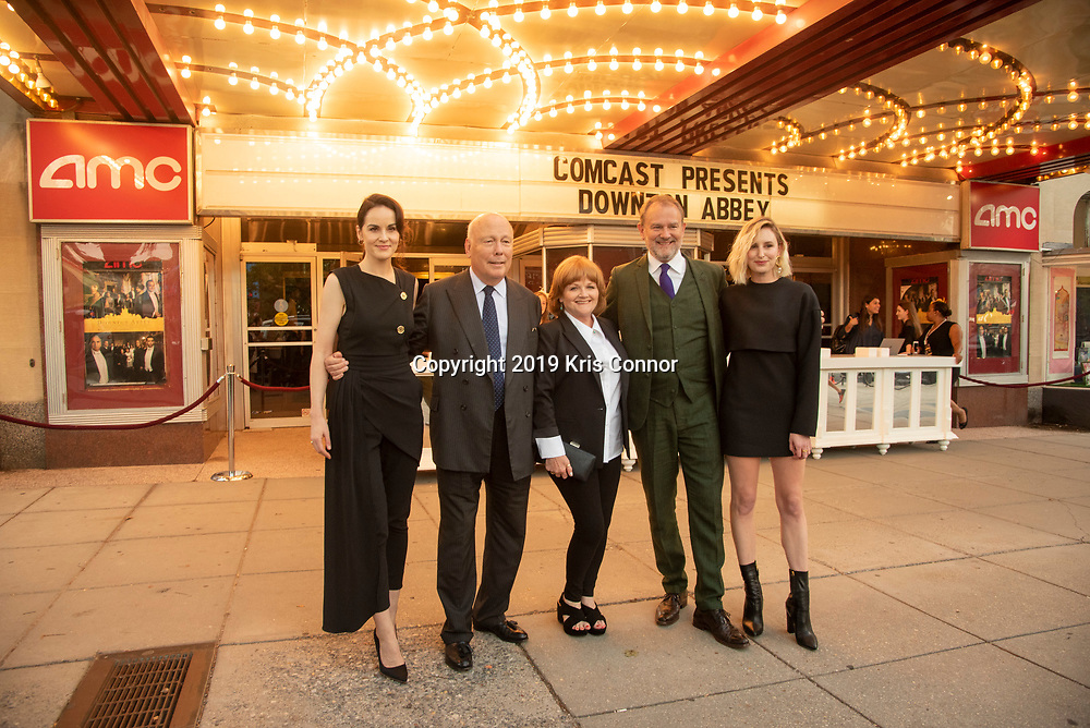 WASHINGTON DC: Michelle Dockery, Julian Fellowes, Lesley Nicol,  Hugh Bonneville attends the Focus Features, Carnival  and Comcast NBCUniversal the Washington DC Special Screening of Downton Abbey at the AMC Uptown Theatre  on September 12, 2019in Washington DC. (Photo by Kris Connor/Focus Features)