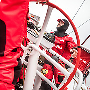 Leg 02, Lisbon to Cape Town, day 17, on board MAPFRE, Xabi Fernandez talking about the last position's report with  Pablo Arrarte and Blair Tuke. Photo by Ugo Fonolla/Volvo Ocean Race. 21 November, 2017