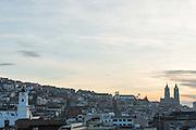 Quito skyline showing The Basilica of the National Vow, Ecuador, South America