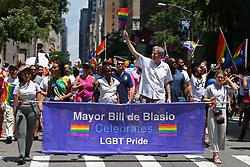 June 25, 2017 - New York City, New York, USA - New York City mayor Bill De Blasio is seen during the Pride Parade in New York City on June 27, 2017 in New York. The first March was held in 1970. (Credit Image: © Anna Sergeeva via ZUMA Wire)