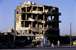 Signs from the past. A building destroyed during the Russian war