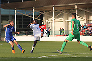 Paolo Gozzi Iweru of Italy (6) beats Osher Davida of Israel (13) to the ball during the UEFA European Under 17 Championship 2018 match between Israel and Italy at St George's Park National Football Centre, Burton-Upon-Trent, United Kingdom on 10 May 2018. Picture by Mick Haynes.