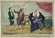 Irish March of Intellect: or The happy Result of Emancipation'. Barefoot Irish father introducing his son to an English lawyer in the hope  of having him apprenticed. Cartoon 1820s.