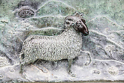 Roman period ram, carved relief on a sarcophagus panel inside the Camposanto Monumentale cemetery. Pisa, Tuscany, Italy.