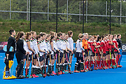 The teams line up before the start. Holcombe v Surbiton - Investec Women's Hockey League Final, Lee Valley Hockey & Tennis Centre, London, UK on 29 April 2018. Photo: Simon Parker