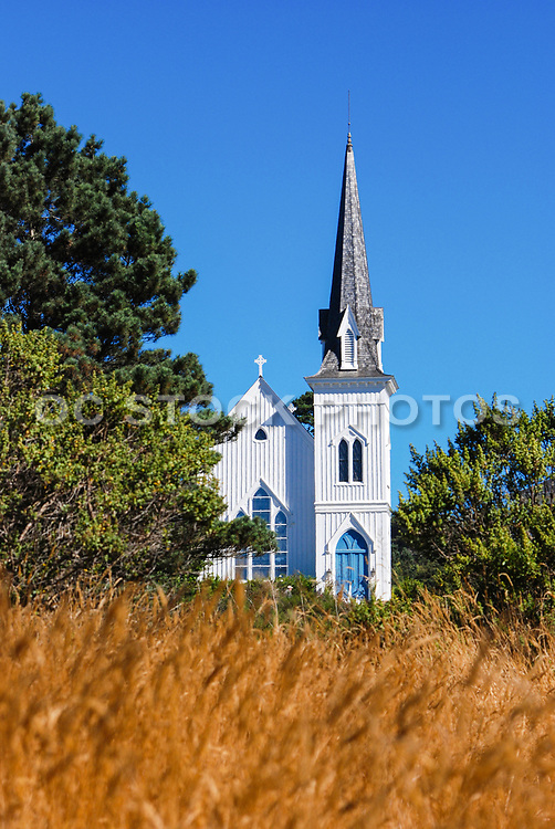 Mendocino California White Wooden Church