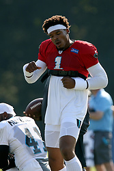 July 28, 2018 - Spartanburg, SC, U.S. - SPARTANBURG, SC - JULY 28: Cam Newton (1) quarterback Carolina Panthers dances to the music during warm ups during the third day of the Carolina Panthers training camp practice at Wofford College July 28, 2018 in Spartanburg, S.C. (Photo by John Byrum/Icon Sportswire) (Credit Image: © John Byrum/Icon SMI via ZUMA Press)