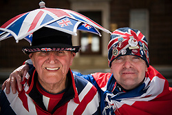 25/04/2015. Royal fans Terry Hutt (left)  John Loughrey (right) outside the Lindo Wing of St Mary's hospital in Padding, where The Duchess is due to give birth. Photo credit: Ben Cawthra