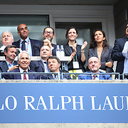 Italian Prime Minister Matteo Renzi, (center), watching Flavia Pennetta, Italy, and ] Roberta Vinci Italy, playing in the Women's Singles Final match during the US Open Tennis Tournament, Flushing, New York, USA. 12th September 2015. Photo Tim Clayton