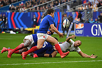 Rugby Union - 2020 Guinness Six Nations Championship - France vs. England<br /> <br /> England's Jonathan Joseph spills the ball in the tackle, at The Stade de France, Paris.<br /> <br /> COLORSPORT/ASHLEY WESTERN