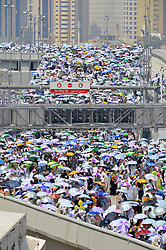Sept. 26, 2015 - Mina, Saudi Arabia - Muslim pilgrims head to attend Hajj rituals in Mina, neighboring the holy city Mecca, where the death toll in Thursday's stampede has risen to 769. (Credit Image: © Xinhua via ZUMA Wire)