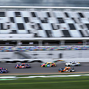 Darrell Wallace Jr., driver of the (43) Click n' Close Chevrolet leads the pack during practice for the 60th Annual NASCAR Daytona 500 auto race at Daytona International Speedway on Friday, February 16, 2018 in Daytona Beach, Florida.  (Alex Menendez via AP)