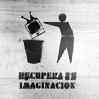 """Translation: """"GET YOUR IMAGINATION BACK""""<br /> <br /> Buenos Aires, Argentina March 2006<br /> Protest, resistance and memory:  The Stencil images in Buenos Aires. <br /> The stencil art takes the streets of the Argentinian capital. Urban artists bomb in silence the city with messages that combine political and social content, imagination and irony.<br /> Photo: Ezequiel Scagnetti"""
